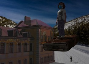 A 3% shiny 80% dark house is in the snow. Camera light is black. A girl is 55 feet right of and -30 feet above and 20 feet in front of the house. A huge book is -5.5 feet above the girl. The book is leaning 15 degrees to the front. A clear house is -78.5 feet right of the house. Death is 10 feet behind and 12 feet right of the house. The sun is silver.