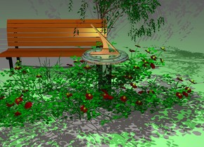 a shiny sundial. a lime light is above it. camera light is linen. a 2 foot tall rose is -3 feet above the sundial.  a bench is 2 feet behind and -1 foot left of the sundial. a enormous grass is in front of the bench. a 1.8 foot tall rose is -3 feet in front of and -3 feet left of the rose. it faces back. a 4.5 foot tall willow tree is -2 feet right of and -3 foot behind the bench.