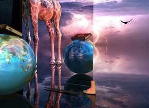 A large book is -3 inch above a large shiny globe. It is facing west. It is leaning left. The globe is facing southeast. Clear ground. Camera light is black. Azimuth of the sun is 320 degrees. A crimson light is above the book. A flat silver wall is 2 feet in front of the globe. A clear wall is in front of and right of the wall. A shiny giraffe is 4 feet right of the globe. A 75% dark foot is 1.3 foot left of and in front of the globe. It is facing east. 2 dim orange lights are 8 feet left of and behind the globe. A black bird is 4 feet above and 4 feet in front of and left of the foot. It is leaning front. It is facing north. A fish is -1 foot in front of and right of the foot. It is leaning 90 degrees to the left. It is facing west. The sun is silver.