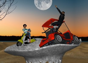 The enormous vase is in the desert. The scooter is -33 inches above the vase. It is -50 inches to the left of the vase.. it is leaning 15 degrees to the left. The woman is 3.5 feet in the scooter. She is 5 feet tall. The golf cart is 5 feet to the right of the scooter. It is facing back. It is leaning 24 degrees to the left.  the man is 2.5 feet in the golf cart. He is facing left. He is leaning 10 degrees to the front.