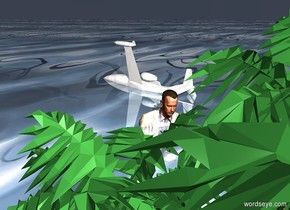 a enormous bust is 40 feet in front of  and -10 feet left of an island. the island is 3 foot in the ground. ground is 500 foot wide shiny [water]. the bust faces back. a big white airplane is 20 feet in front of and 10 feet left of the bust. the airplane is 30 foot in the ground. it leans 70 degrees to the right. sky is baby blue. sun is dim. a linen light is 20 feet above the island.