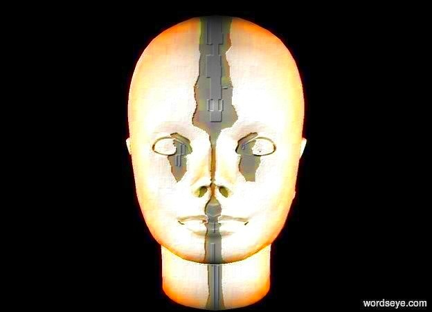 Input text: a head. it is night. a 1st peach puff light is 10 feet left of the head. a 2nd peach puff light is 10 feet right of the head.