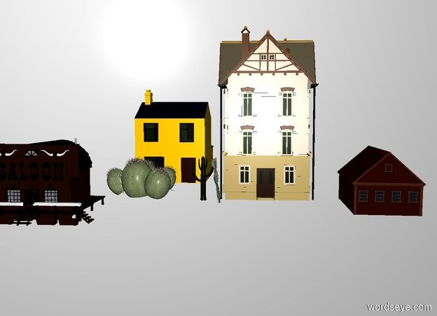 Input text: THE WHITE BACKDROP. Ground is invisible. 3 houses face southeast.  3 cacti are 10 feet tall. the cacti are in front of the houses. The saloon is in front of the cacti. It faces southeast.