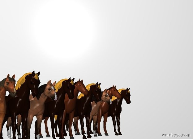 Input text: THE WHITE BACKDROP. Ground is invisible. ten horses.