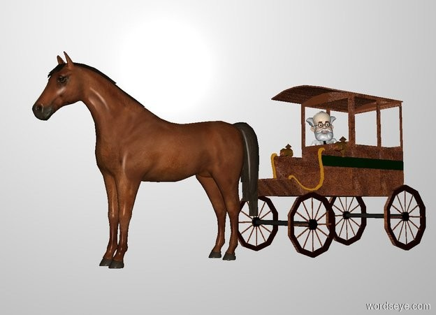 Input text: THE WHITE BACKDROP. Ground is invisible. a [brown] carriage. a professor is -12 feet in front of and -6 feet above and -5 feet left of the carriage. it faces southeast. its hair is white. its mustache is white. its beard is white. its shirt is white. its necktie is black.  a large horse is in front of the carriage.