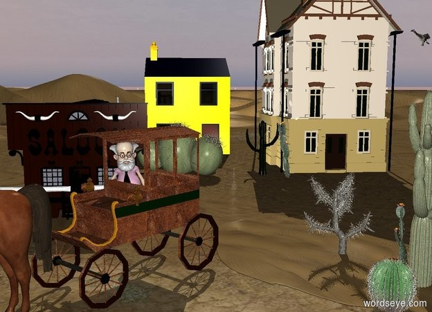 Input text: A town faces southeast. A dune is east of it. A carriage is south of it. It faces southeast.