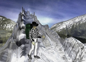 shiny backdrop.ground is visible and shiny gray.ground is 100 feet tall and 2000 feet wide and 100 feet deep.ground is [snow]. a 700 inch tall man is on the ground.the man is facing southwest.
