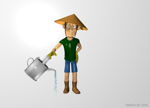 Input text: THE WHITE BACKDROP. ground is invisible. The man is -1 feet right of and -1 feet behind the large watering can.
