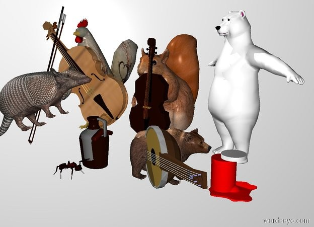 Input text: THE WHITE BACKDROP. Ground is invisible. a large squirrel. a tiny bass is in front of the squirrel. the bass is -6 inches to the right of the squirrel. the bass is leaning 5 degrees to the left. a very small polar bear is to the right of the squirrel. the polar bear is -12 inches in front of the squirrel. a small banjo is in front of the polar bear. it is leaning 80 degrees to the left. the bear is facing southwest. the banjo is facing southwest. a  1.8 feet tall [peacock] chicken is 0.5 feet left of the squirrel.a [wood] violin is -0.3 feet to the front of the chicken.it faces southeast. it leans 85 degrees to the southeast. a bow is -0.9 feet  left of  and 0.8 feet to the front of the chicken. it leans 69 degrees to the right. an armadillo is in front of the bow. the armadillo is facing right. the armadillo is leaning 25 degrees to the back. a .6 foot high jug is -3.5 inches to the right of the armadillo. the second brown bear is 4 inches to the right of the jug. it is 7 inches tall. it is facing right. the small red cylinder is to the right of the second bear. it is 4 inches tall.the small white cylinder is above the red cylinder. it is .5 inches tall. it is -2 inches to the right of the red cylinder. the red egg is to the right of the second bear. the egg white of the egg is red. the very large ant is 1 inch in front of the jug. it is facing right.