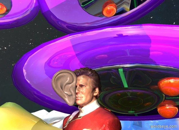 Input text: a bust.a shiny spaceship is 2 feet behind the bust.the 3d ground is visible.the sky is space.the space is 5000 feet tall.the 3d ground is shiny paint.a linen light is in front of the bust. A huge ear is in front of and -4 inch above the light.