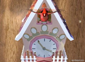 a 10 foot tall shiny cuckoo clock. backdrop is wall. a very big bird is -1.7 feet above and -1.5 foot in front of the clock. a violet light is 10 feet left of the clock. a navy light is 3 feet right of and above the clock.