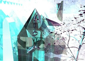 It is morning. The sky is purple. The ground is blue metal. The ground is reflective. The 6 foot tall glass pyramid is on top of a 6 foot tall glass cube. The first 16 foot tall 55 foot wide reflective lime wall is right of the cube. The first wall is facing right. The second 16 foot tall 55 foot wide reflective turquoise wall is behind the cube. The second wall is facing north. The bright white light is above the pyramid. A 5 foot tall reflective head is 5 feet inside the cube. A bright pink light is 5 feet inside the pyramid. The camera light is sky blue. The small silver tree is 1 feet southwest of the cube. The reflective 19 inch tall dolphin is 6 feet inside the pyramid. The dolphin is facing  the tree. The dolphin is facing up.