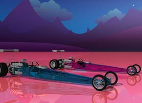 the ground is shiny flamingo pink. The sky is stars. There is a shiny aqua glass race car 5 feet to the left of another magenta glass car.