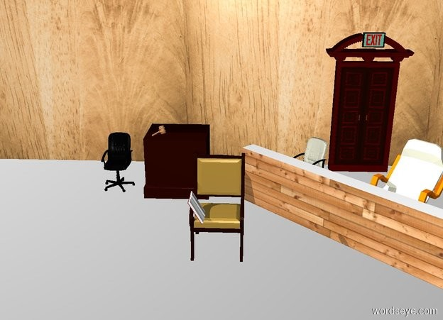 Input text: THE WHITE BACKDROP. Ground is invisible. a book is -0.6 feet left of and -1.6 feet above and -0.4 feet to the front of the 2nd chair. it faces right. it leans 30 degrees to the back. a  dresser is 3 feet behind and -0.3 feet left of the 2nd chair. it faces back. a [wood] gavel is -1.3 feet to the left of and -0.3 feet to the front of and 0.02 feet above the dresser. it leans  30 degrees to the right. it faces southwest. 1st chair is  0.7 feet left of the dresser. 1st 20 feet tall and 50 feet long [paneling] wall is 2 feet behind the dresser. 2nd 2.5 feet tall and 15 feet long [wood] wall is 4 feet to the front of and -22 feet to the right of the 1st wall. it faces southwest. 2nd beige chair is -20 feet to the right of and 2.5 feet to the front of the 1st wall. it faces the southwest. 3rd  beige chair is -0.6 feet southeast of the 2nd chair.  it faces southwest. a door is -18 feet to the right of and 0.1 feet to the front of the 1st wall. a exit sign is -0.5 feet above and 0.1 feet to the front of the door.