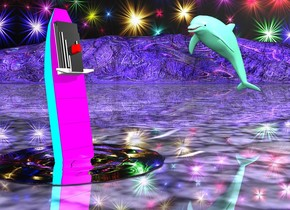 the ground. The cyan ship is 1.5 feet in the 3 foot wide 3 foot deep 1 inch tall silver mountain. the ship is 4 feet long. it is leaning 80 degrees to the front. the stack of the ship is red. the magenta deck of the ship. the sky is stars. the ground is shiny. the ground is mauve.   The small aquamarine dolphin is 3 feet to the right of the ship. it is 1 foot above the ground. it is facing the ship. the light is 1 foot above and 2 feet in front of the dolphin.