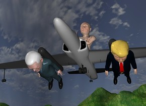 The tiny plane is 4 feet above the ground. The Putin is 3 feet in the plane. The small Trump is -2 feet in front and -8 feet to the right of the plane. He is -6  feet above the plane. He is leaning 85 degrees to the front. The small pence is 2  feet to the left of the Trump. Pence is leaning 85 degrees to the front.