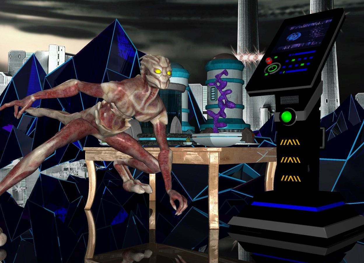 Input text: a shiny table.a aquarium is on the table.a panel is right of the table.a creature is in front of the table.the creature's eye is yellow.a clear grid is behind the table.clear ground.the creature is facing right.