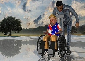 a 120 inch tall  gray wheelchair.ground is shiny.a 100 inch tall boss is -105 inch above the wheelchair.a 170 inch tall shiny man is behind the wheelchair.the man is facing the wheelchair.the jacket of the boss is a flag.