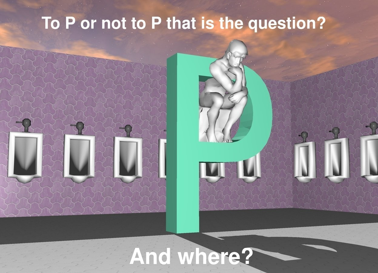 "Input text: the huge aquamarine ""P"" is -12 feet in front of the restroom. it is facing right. the magenta wall of the restroom.   the thinker is 3.5 feet in the ""P"". it is facing right. it is leaning 10 degrees to the front."