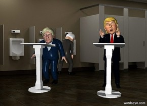 a boris.a donald is 3 feet right of the boris.a 1st 4 feet tall white lectern is in front of the donald.it is facing the donald.a 2nd 4 feet tall white lectern is in front of the boris.it is facing the boris.a joe is 3 feet behind the boris.he is facing north.pale shadow plane.