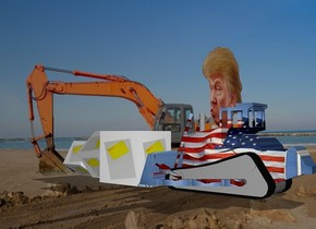a 100 inch tall [flag] caterpiller bulldozer.a 1st 70 inch tall [adhesive note] cube is in front of the caterpiller bulldozer.a 100 inch tall head is -30 inch above the bulldozer.a 2nd 50 inch tall [adhesive note] cube is in front of the 1st cube.the 2nd cube leans 40 degrees to left.a 3rd 40 inch tall [adhesive note] cube is in front of the 2nd cube.the 3rd cube leans 30 degrees to right.
