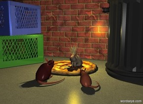 It is night. The sky is dark grey. The ground is 0% dull texture. The pizza. The first rat is on the pizza. The second rat is in front of the pizza. The second rat is brown. The second rat is facing the first rat. The third clay red rat is 4 inches to the right of the second rat. The third rat is facing the first rat. The third rat is .4 feet tall. The 5 inch tall crown is on top of the first rat. The gold light is 2 inches inside the crown. The vanilla light is 1 inch inside the crown. The 3 foot tall dull wall is .8 feet behind the pizza. The wall is [brick]. The can is 2 inches to the right of the pizza. The first crate is 4 inches to the left of the pizza. The first crate is facing the second rat. The first crate is dull fresh green. The second crate is on top of the first crate. The second crate is dull sea blue. The second crate is facing the first rat.