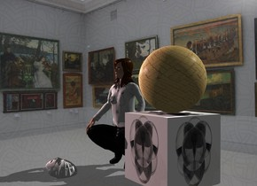 A [square] sphere is on a [round] cube. Gallery backdrop is 65% dark and 10% shiny. Camera light is black. A cream light is above and 4 feet in front of the sphere. A pink light is 2 feet right of and above the light. A small woman is in front of and -8 inch right of the cube. She is facing east. Sky is wicker. A small mask is 4 inch right of the woman. It is leaning 90 degrees to the back. It is facing southeast.
