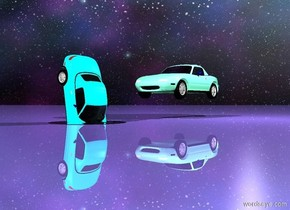 the ground. The cyan car is 1.5 feet in the 3 foot wide 3 foot deep 1 inch tall silver mountain. the car is 4 feet long. car is leaning 80 degrees to the front. the stack of the car is red. the magenta deck of the car. the sky is stars. the ground is shiny. the ground is mauve. The small aquamarine car is 3 feet to the right of the car. car is 1 foot above the ground. car is facing the car. the light is 1 foot above and 2 feet in front of the car.