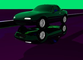 the first clear car is upside down. the 2nd clear car is on car. the sky is spring green. the ground is purple. small clear pyramid 6 inches in the car. the bright blue light is 4 inches above the car. a clear lime wall is left of the car. it is twelve inches tall and 500 feet long. it faces left. a clear purple wall is above the clear lime wall. it is 2 inches tall and 5 feet long. its top is clear purple. it faces left. its bottom is clear purple. the 3rd clear purple sphere is 5 inches above the wall.