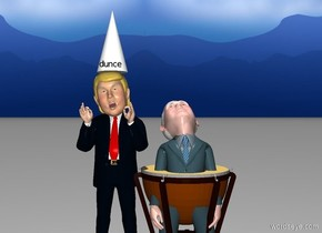 "a trump is left of a pence. a big cone is -.1 foot above the trump. a 3 foot tall drum is -5.25 feet above the pence. a very tiny black ""dunce"" is in front of and -1.9 feet above the cone. it is noon."