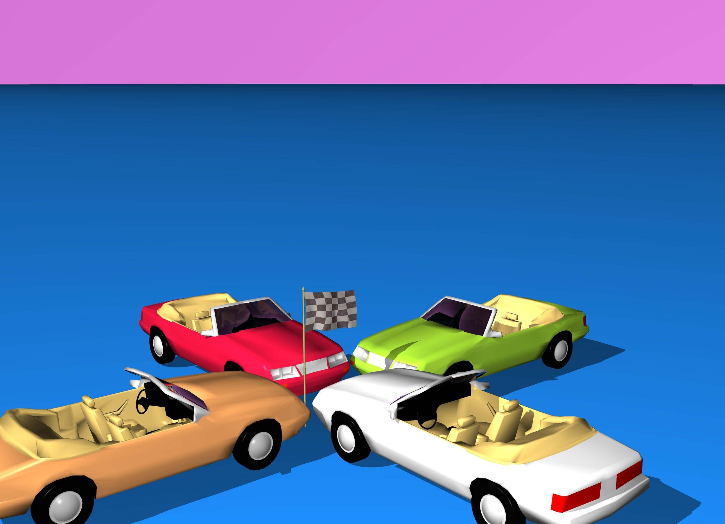 Input text: The ground is dodger blue. The sky is violet. There is a checkerboard flag. There is a yellow-green car one foot to the right of the flag. The car is facing the flag. A second sandy brown car is one foot to the left of the flag. The second car faces the flag. A third crimson car is one foot north of the flag. The third car faces the flag. A fourth white smoke car is one foot south of the flag. The fourth car faces the flag.
