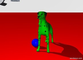 there is no sky   the ground is red  there is a green dog  the dog plays with a blue ball