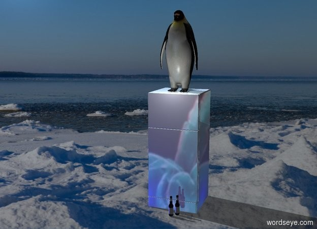 Input text: A shiny fridge. [Arctic] backdrop. [Antarctic] sky. Camera light is black. A light is in front of and above the fridge. Shadow plane. A penguin is on the fridge. The sun is baby blue. A navy light is right of the fridge. A blue light is left of and in front of the fridge. A bottle is 4 inch in front of and -1 foot right of the fridge. A bottle is left of and in front of the bottle.