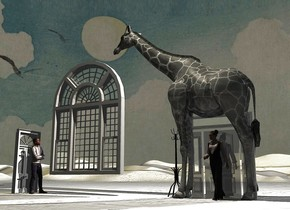 White 3D ground. A 10% shiny grey giraffe is facing west. Camera light is black. A cream light is above and in front of the giraffe. Azimuth of the sun is 25 degrees. Altitude of the sun is 30 degrees. A man is 9 feet left of the giraffe. He is facing the giraffe. A 20% shiny white door is -6 feet right of the giraffe. A woman is in front of the door. A huge white window is 7 feet left of the door. It is 2 feet above the ground. A coatrack is 6 inch left of the door.A white door is 1 foot left of the man. It is facing east. The sky is 60% dark. A lemon light is left of the door.