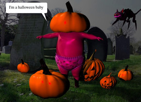 the 1st pumpkin is in the graveyard. it is 7 inches in the baby. a 2nd small pumpkin is to the right of the baby. a third pumpkin is -1 foot to the left and in front of the baby. a 4th pumpkin is behind and -1 foot to the right of the baby. a 5th small pumpkin is 6 inches to the right of the fourth pumpkin. it is facing back. a 6th small pumpkin is 1.5 foot to the left of the fourth pumpkin. the small cat is a foot above the 5th pumpkin. it is facing southwest. it is leaning 10 degrees to the back. the ambient light is black.  the purple light is 1 foot above and 1 foot in front of the 1st pumpkin. it is 2 feet to the left of the 1st pumpkin. the magenta light is above and 1 foot in front of the third pumpkin. the camera light is black.
