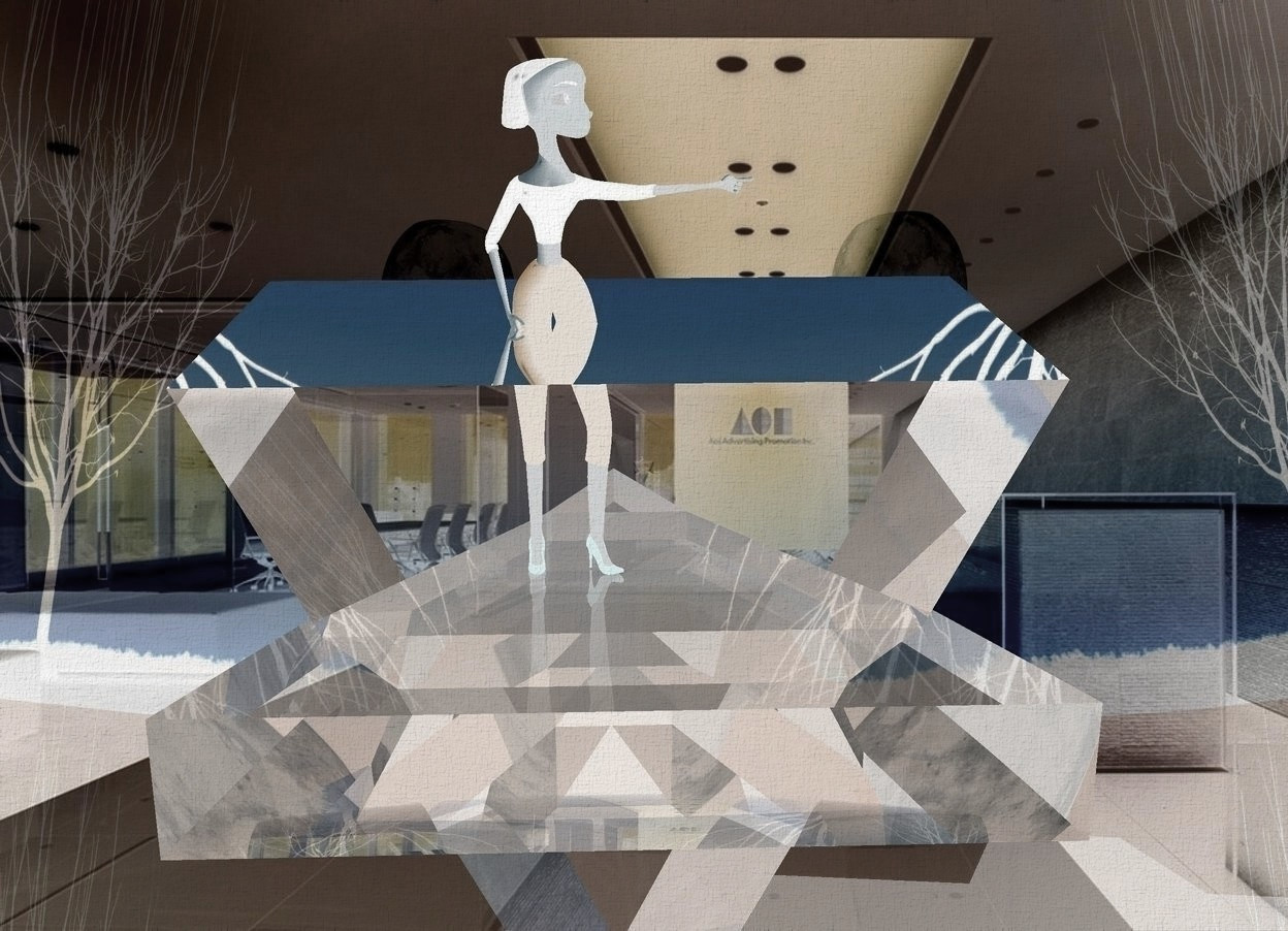 Input text: a 1st 50 inch tall and 300 inch wide and 300 inch deep clear  triangle.a shiny hallway backdrop.sky is 6000 feet tall.a 190 inch tall  woman is on the 1st triangle.the shirt of the woman is black..a 2nd 180 inch tall and 300 inch wide and 300 inch deep clear  face up triangle is -210 inch above the 1st triangle.camera light is black.sky is facing west.