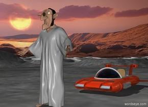 the cartoon.  the spaceship is 5 feet behind the cartoon.