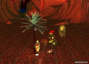 a palm tree is 1 inch in ground. huge [texture] vase is -0.1 foot behind palm tree and -13 foot to right. big man is 6 foot in vase. man is facing northeast. 15 foot tall scarlet plume is 0.5 foot behind vase and 1.6 foot to left. 24 foot tall dahlia is behind scarlet plume and -2.5 foot to left. 16 foot long potted ivy is 3 feet above man and 1 inch behind dahlia. potted ivy is -0.5 feet left of man. 8 foot wide [texture] space station is 2 foot right of man and -0.5 foot to back. space station is facing southwest. space station is 6 foot above ground. 2.5 foot tall leather red head is 5 foot in space station. head is facing southwest. ground is 20 foot wide [texture]. 4 foot wide shiny [water] circle is 8 foot right of vase and 12 foot to back. circle is -0.1 inch in ground. sun's azimuth is 120 degrees. sun is dusty rose. ambient light is pistachio green. lilac light is 1 foot behind head. light is facing man. camera light is wildness. old gold light is 5 foot in front of man and 10 foot to right. huge pale fox is 10 feet behind vase and 0.5 foot to right. fox is facing left. fox is leaning 90 degrees to right. big vulture is -2 foot right of potted ivy and 26 feet above ground. vulture is leaning 40 degrees to front.