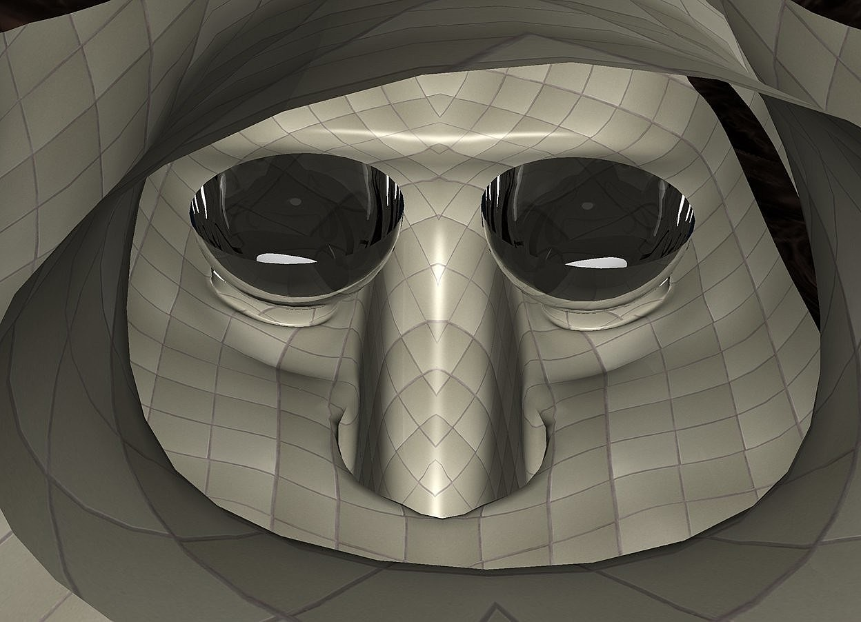 Input text: a 200 inch tall [tile] head.sky is white.ground is invisible.the eye of the head is  clear .