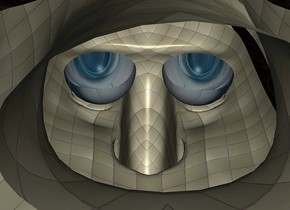 a 200 inch tall [tile] head.sky is white.ground is invisible.the eye of the head is 20.5 inch wide [sd].