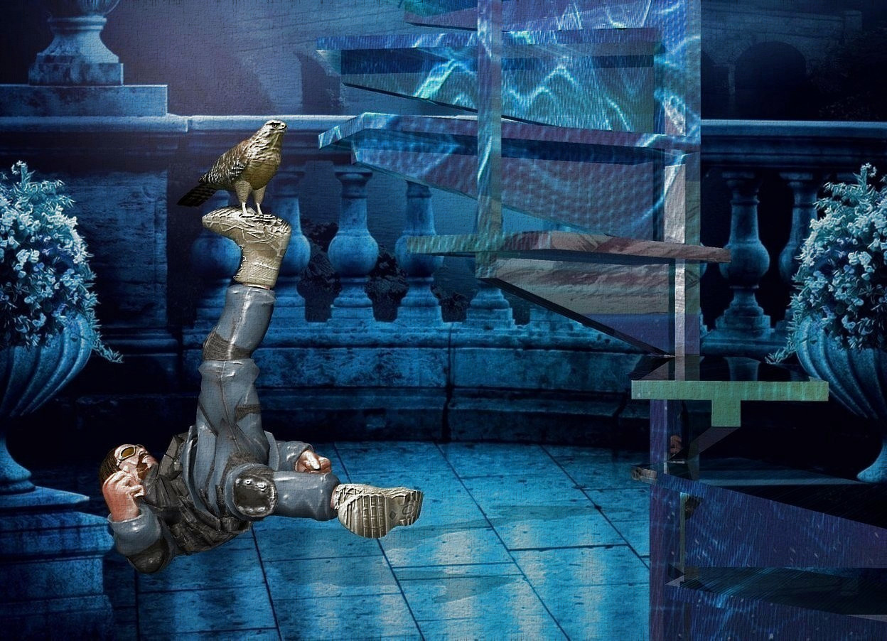 Input text: a face up man.a bird is -3 inches above the man.a shiny staircase is in front of the man.the staircase is [abstract].fantasy backdrop.a linen light is in front of the bird.pale shadow plane.