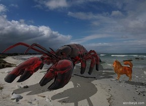 [Sand] backdrop. A clear lobster is 1 inch left of a very tiny dog. The dog is facing the lobster. Camera light is grey.
