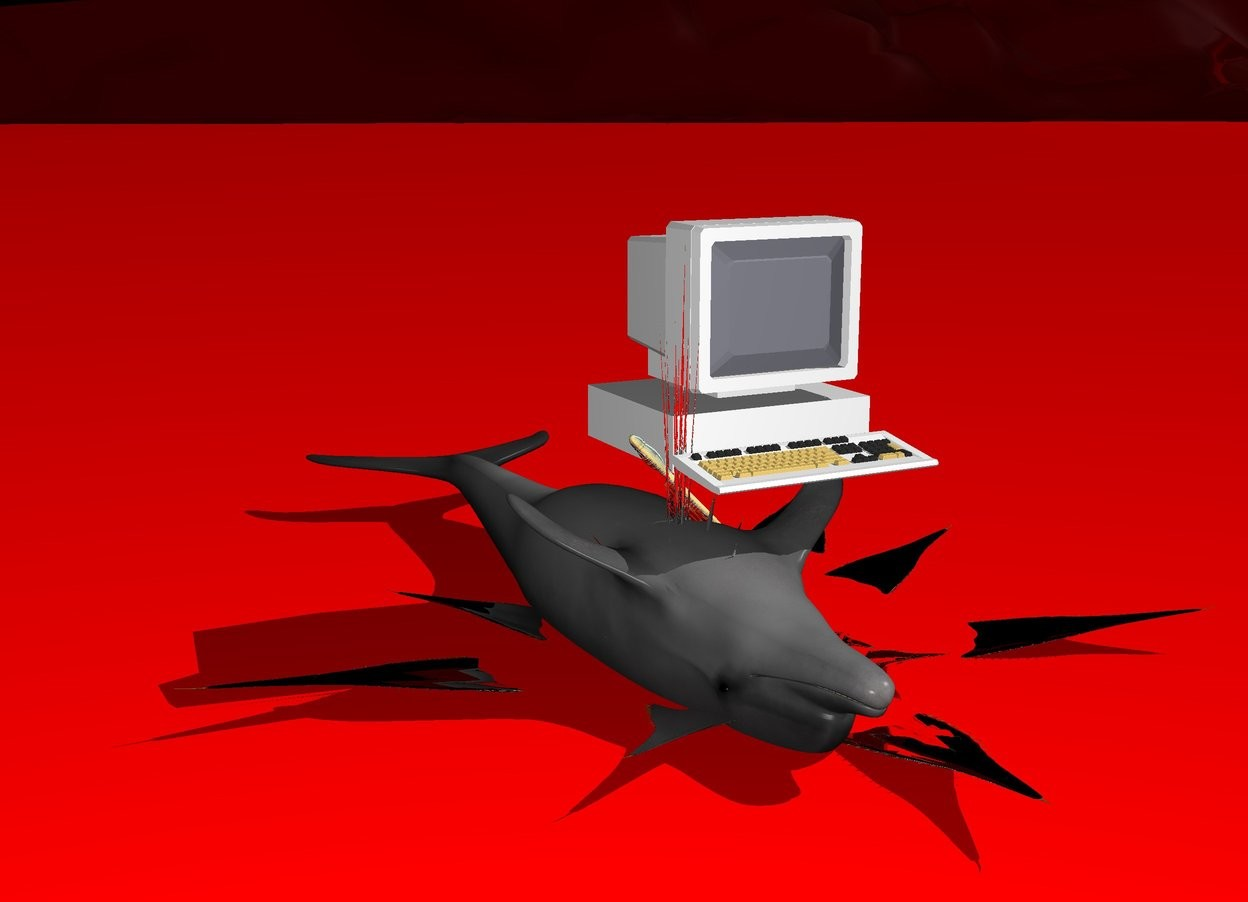 Input text: translucent ground. black sky. dolphin in the red ocean. it is leaning 180 degrees to the back. a bloody knife is -0.17 meters above the dolphin. it is -1.5 meter to the front. it is leaning 45 degrees to the right. a white computer is above the dolphin. it is facing the back. it is -0.4 meter to the left. it is -1.7 meters to the front. red 2 meters wide splash above the dolphin. it is -0.5 meters above the dolphin. it is -2.5 meters to the front.