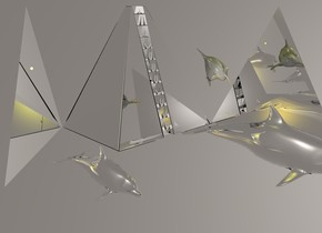 a 1st 600 inch tall and 600 inch wide silver pyramid .a 200 inch tall and 200 inch wide and 100 inch deep shiny gray dolphin  is 100 inch in front of the 1st pyramid .the dolphin leans 40 degrees to back.ground is invisible.sky is 55% dim linen.the dolphin  is facing southeast.the dolphin  is -350 inch above the 1st pyramid .a 2nd 600 inch tall and 700 inch wide flat silver pyramid is left of the 1st pyramid .the 2nd pyramid is in frame of the 1st pyramid .the 2nd pyramid is facing southeast.a 3rd 600 inch tall and 700 inch wide flat silver pyramid is right of the 1st pyramid .the 3rd pyramid is facing west.the 3rd pyramid is in front of the 1st pyramid .a yellow light is 180 inch above the dolphin .two gold lights are 150 inch in front of the 1st pyramid .a 1st 250 inch tall silver dolphin is 150 inch in front of the 1st pyramid .a 2nd 150 inch tall silver dolphin is in front of the 2nd pyramid .the 2nd sphere is -250 inch above the 2nd pyramid .the 1st sphere is -700 inch above the 1st pyramid . the ground is water.