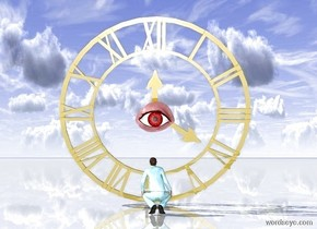 the ground is shiny. a giant golden clock. the clock leans 15 degree forward. the degree is invisible. a tiny man looking up.tiny man is in front of clock. man is facing clock. man is made of water. dim sky 30%. a giant eyeball 4 inches behind the man. eyeball is 6 inches above man. the eyeball is dark red.