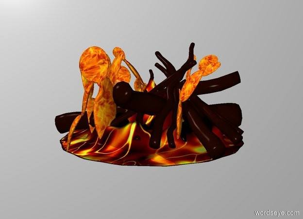 Input text: THE WHITE BACKDROP. Ground is transparent. A fire is -1 feet above a 3 foot wide 3 foot deep 1 foot tall lava mountain. A flame is -1.5 feet above the fire.