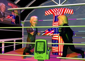 The boxing ring is 20 feet in the car wash. The body of the boxing ring is tan.  The Biden is in the boxing ring. He is facing right. He is 6 feet tall.  He is leaning 10 degrees to the front. The Trump is 2 foot to the right of Biden. He is facing left. A [flag] hammerhead shark is behind and -1 foot to the right of Biden. It is 5 feet tall. It is 10 feet in the boxing ring. It is leaning 90 degrees to the back. The monitor is above and to the left of the boxing ring. It is facing right. It is 5 feet tall.  The display screen of the monitor has a [display] image. A second monitor is in front of the boxing ring. It is 6.2 feet tall. The red light is 2 feet above and three feet in front of Biden. The blue light is 3 feet to the right of the red light. The chartreuse light is 1 foot above and 3 feet in front of the second monitor. The camera light is black.