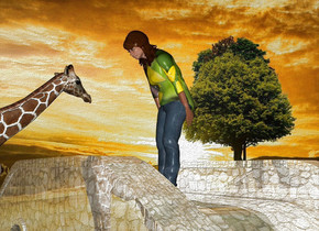 a shiny bridge.a woman is -12 inches above the bridge.clear ground.the woman's shirt is flower.a 6 feet tall giraffe is -15 inches in front of the bridge.it is facing north.