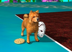 A tiki mask is laughing. A dog is eating food. There is blood on the floor.