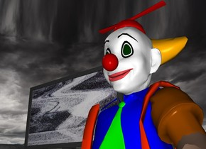 A clown is lying on the floor. A television is next to his head.